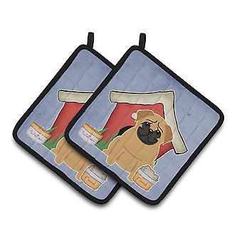 Perro casa colección Pug Brown par de agarraderas