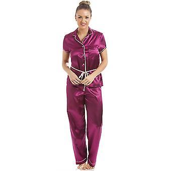 Camille fúcsia manga curta rosa com cinto conjunto de pijama de cetim