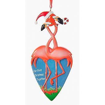 Kurt Adler Flamingo par vår første sammen ferie pryde harpiks