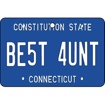 Connecticut - Best Aunt License Plate Car Air Freshener