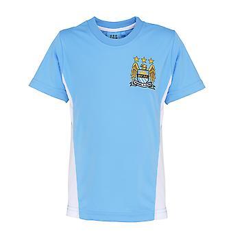 Camiseta de manga curta oficial futebol mercadoria crianças Manchester City FC