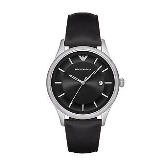 Emporio Armani Mens Gents Watch Black Leather Strap Black Dial AR11020