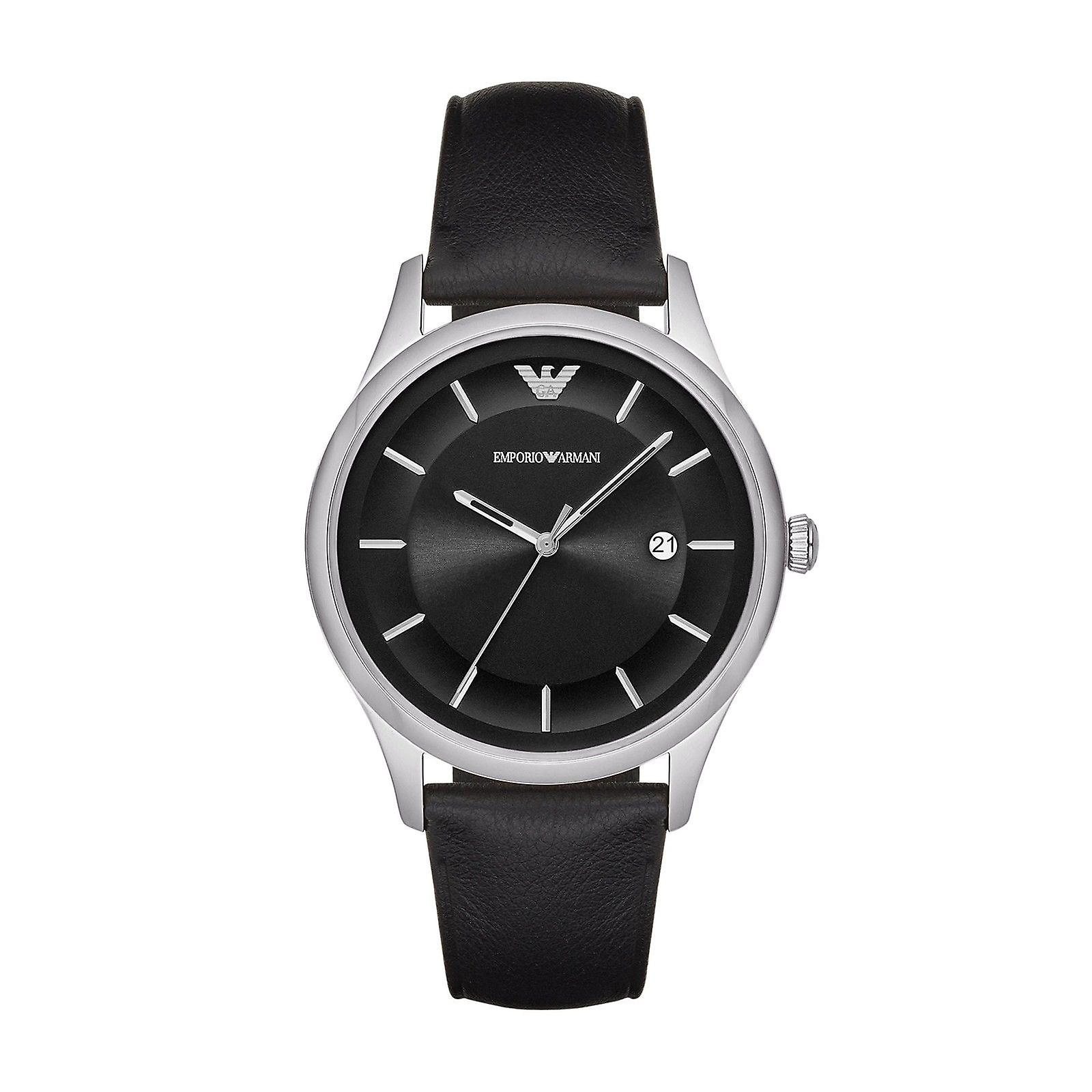 Emporio Armani Mens Gents montre bracelet de cuir noir cadran noir AR11020