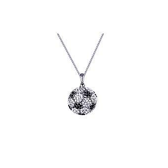 Fotball Balloon halssmykke utsmykket med 300 hvite og sorte Swarovski krystaller