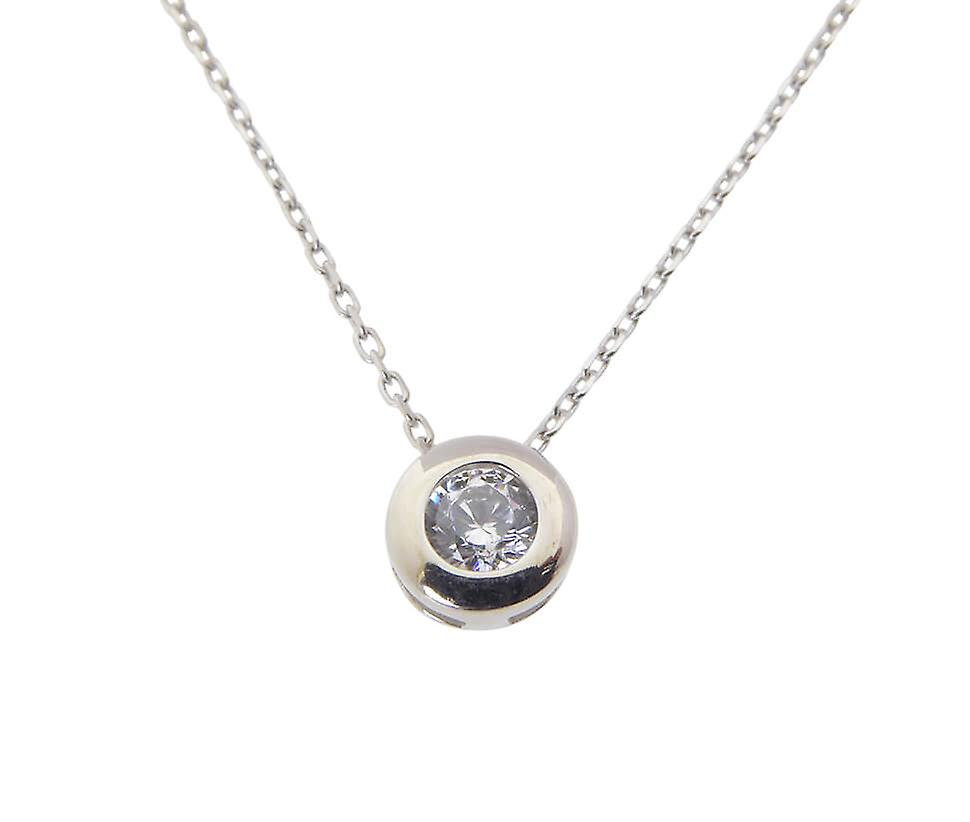 White Gold Solitaire cubic zirconia pendant