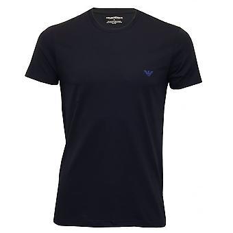 Emporio Armani Stretch Cotton Italian Flag Logo Crew-Neck T-Shirt, Navy
