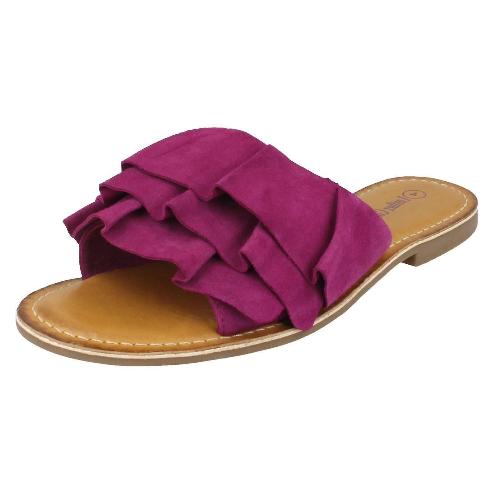 Ladies Leather Collection Frill Vamp Mules jpCtL