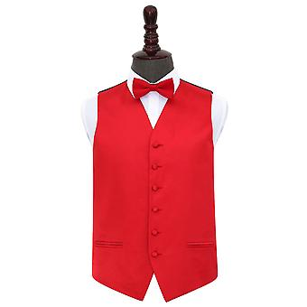 Red Plain Satin Wedding Vest & amp; Vlinderdas set