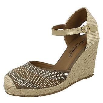 Ladies Savannah Bead Detail Wedge Sandals