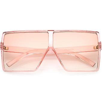 Super Oversize gjennomskinnelig kvadrat solbriller Flat topp farge farget Flat linsen 69mm
