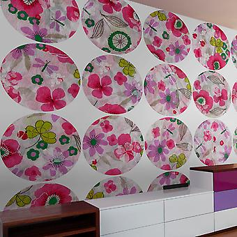 Papier peint - Pink meadow - circle