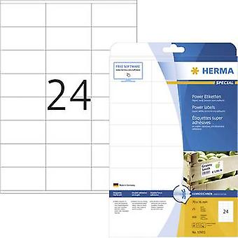 Herma 10905 Labels 70 x 36 mm Paper White 600 pc(s) Permanent Adhesive labels (extra strong), All-purpose labels Inkjet, Laser, Copier 25 Sheet A4