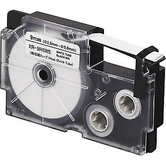 Heatshrink label Casio XR XR-9HSWE Polyolefin Tape colour: White Font colour:Black 9 mm 2.5 m