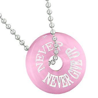 Inspiration nie nie aufgeben Amulett Glücksbringer Donut Rosa simulierten Cats Eye 18 Zoll Halskette