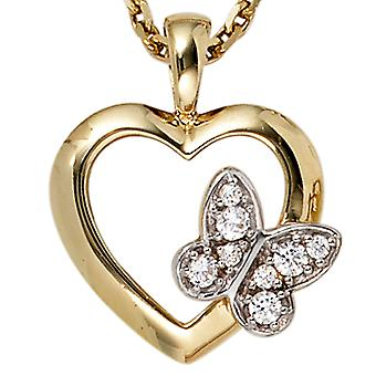 Pendant heart Butterfly 333 gold yellow gold part rhodium plated 8 cubic zirconia