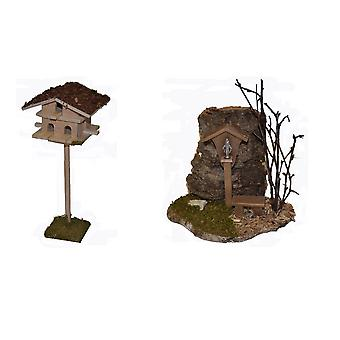 Nativity accessories stable Nativity set with Dovecote and way wayside cross Madonna Bank