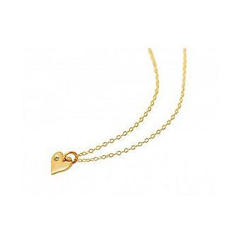 Coeur pendentif Collier coeur chaîne coeur 925 argent or plaqué pendentif diamant