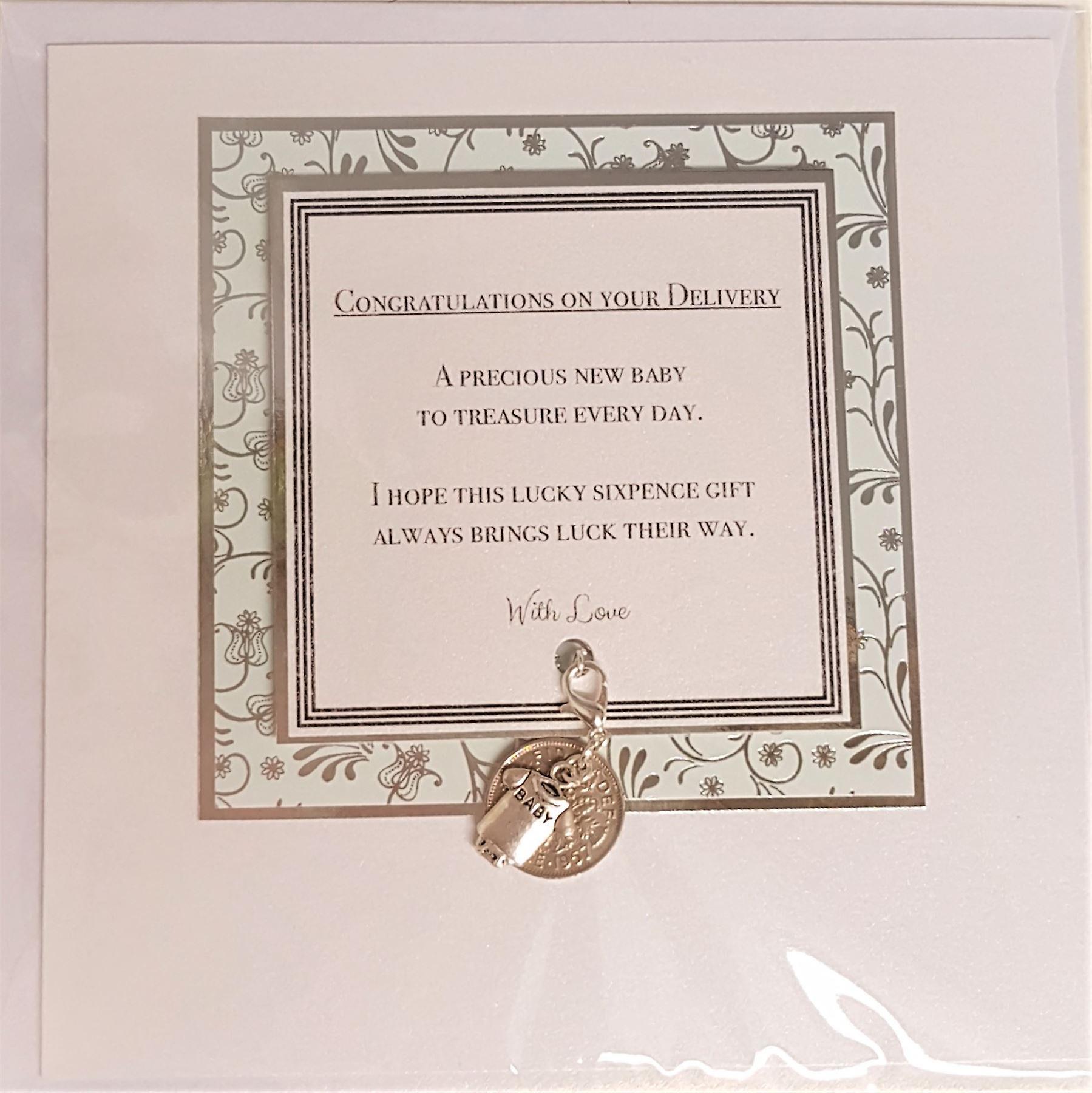Craftilydunn Sixpence Baby Card Green/Silver