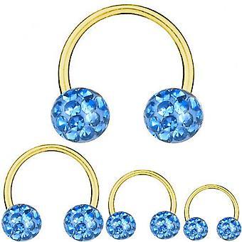 Circolari del bilanciere a ferro di cavallo titanio placcato oro 1,6 mm, Multi cristallo azzurro | 8-16 mm