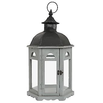Clayre & EEF decoratieve lantaarn grijs hout en metalen armoedig huisje 30 x 27 x 55 cm