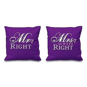 Mr Right Mrs Always Right Purple Cushion Covers 16
