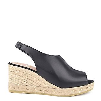 Kanna Laura Black Leather Wedge Espadrille Sandal