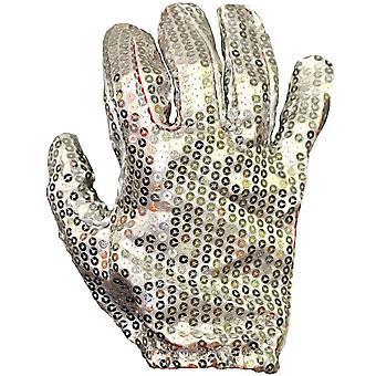 Handschoen wit pailletten