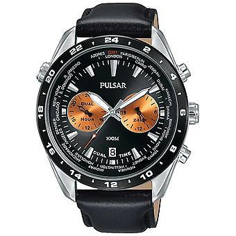 Pulsar mens dual time zwarte wijzerplaat zwart lederen band PY7015X1 horloge