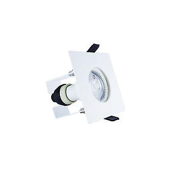 Integral - LED Fire Rated Static Downlight Spotlight Square White GU10 Holder Bracket Matt White IP65 - ILDLFR70D009