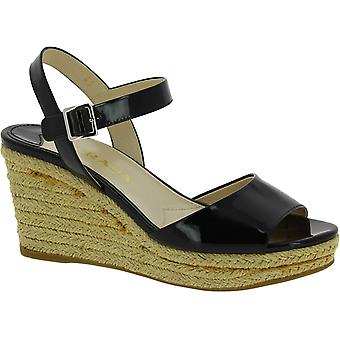 Prada Women's fashion slingback wedge heeled sandals in black patent leather
