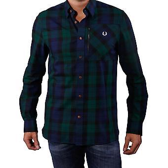 Fred Perry Men's Zip Pocket Lamont Tartan Long Sleeve Shirt