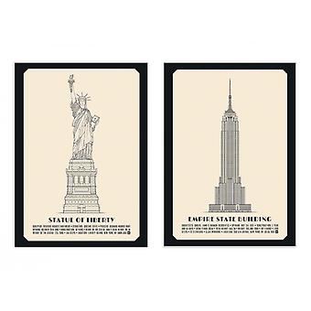 2 Art-Posters - Duo American monuments - Lionel Darian