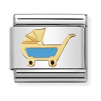 Nomination Classic Blue Pram Steel, Enamel and 18k Gold Link Charm 030208/48