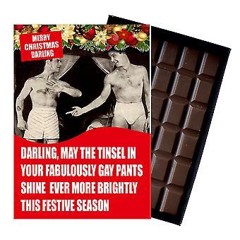 Grappige kerstcadeau voor homoseksuele mannen man vriendje civil partner chocolade wenskaart CDL133