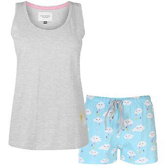 Rock e Rags donne Vest Pantaloncini Pyjama Set Ladies