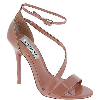 Steve Madden Mujeres's sandalias de tira en el tobillo de tacón alto en charol rosa