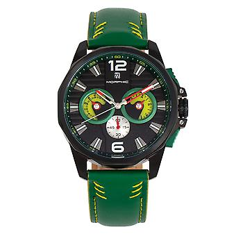 Morphic M82 Series Chronograph Leather-Band Watch w/Date - Noir/Vert
