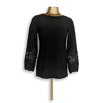Dennis Basso Women's Top XXS Caviar Crepe Tunic Lace Black A305105