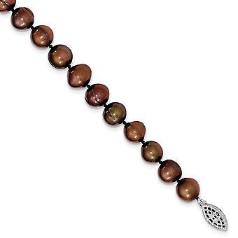 925 στερλίνα ασημένια 9 10 mm καφέ αυγό σχήμα γλυκού νερού καλλιεργούνται Pearl κολιέ 18 ιντσών κοσμήματα δώρα για τις γυναίκες