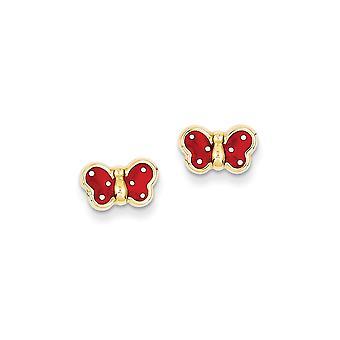 14k Yellow Gold Flat back Post Earrings Enameled Butterfly Angel Wings for boys or girls Earrings Measures 8x10mm