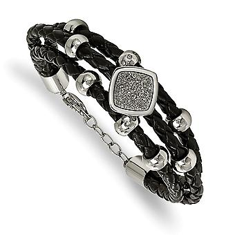 Stainless Steel Polished With Druzy and Crystal Leather W/.75inch Ext. Bracelet - 7 Inch