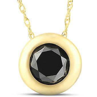 1 1/10 قيراط الماس الأسود الوجه سوليتير قلادة ك 14 الذهب الأصفر