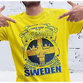 Awsome Suécia amarelo T-shirt-Nascido na Suécia