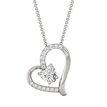 14K White Gold Moissanite by Charles & Colvard 6mm Heart Pendant Necklace, 1.05cttw DEW