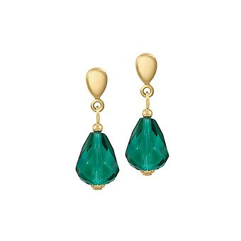 Eternal Collection Sophistication Teal Crystal Gold Tone Drop Screw Back Clip On Earrings