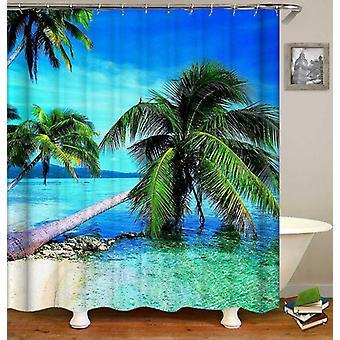 Rideau de douche de plage de palmiers