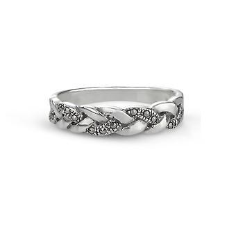 Celtic Eternity Knotwork Band Ring - Glittering Marcasite Stones