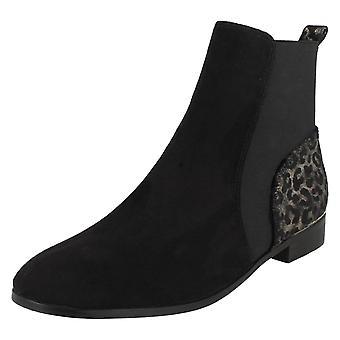 Ladies Spot On Leopard Print Heel Ankle Boots F51115