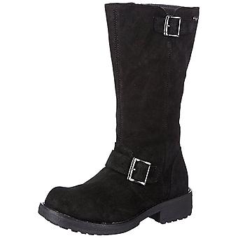 Rocket Dog Knockout Mid Calf Biker Boot - Full Leather Oiled Suede - Black, Tan