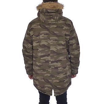 Lambretta Mens Camo Long Sleeve Zip Up Faux Fur Hooded Parka Jacket Coat  Green